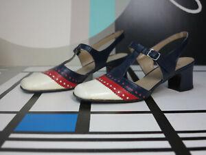 Sandali donna Ovp Red 60's da True Vintage White pelle Sandals in Blue 60s zMVGSUqp
