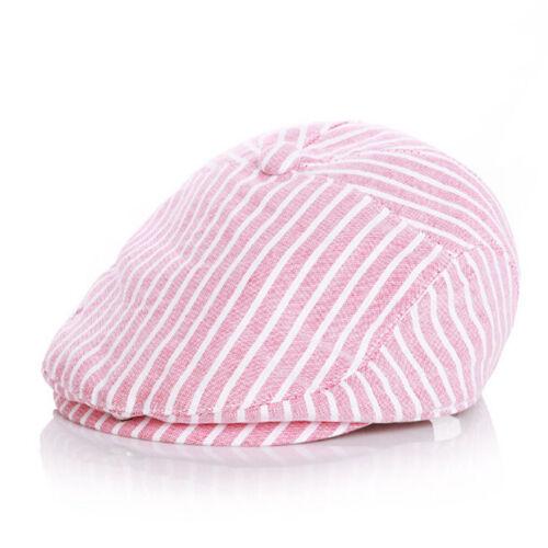Summer Baby Boy Kids Girl Hats Children Baseball Peaked Beret Hat Stripe Cap LC