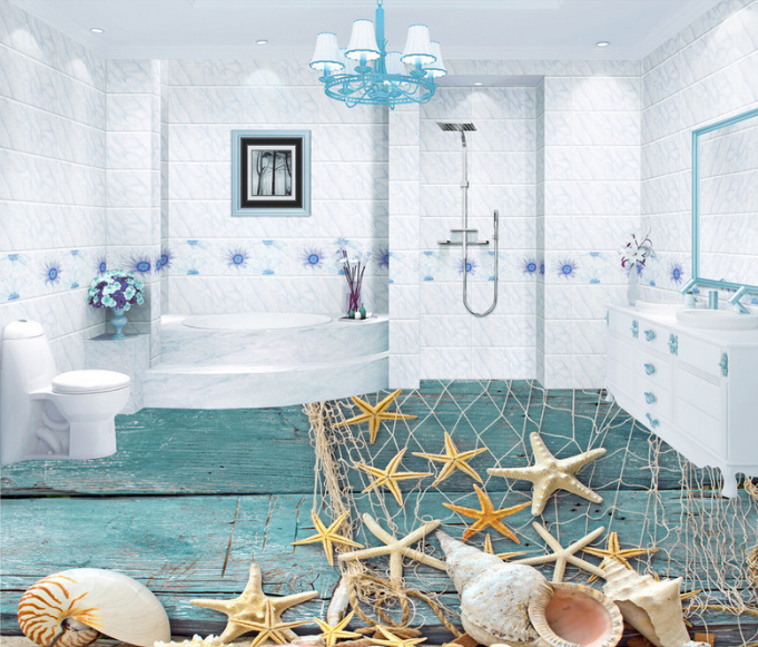 3D Starfish Fishing Net 78 Floor WallPaper Murals Wall Print Decal AJ WALLPAPER