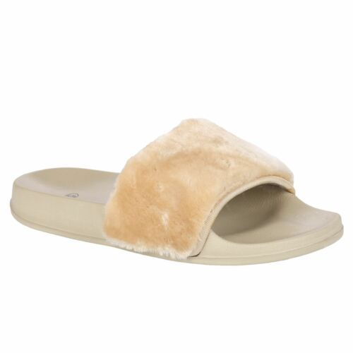 Womens Sliders Slip On Faux Fur Shoes Farrah Rubber Mules Hard Slippers