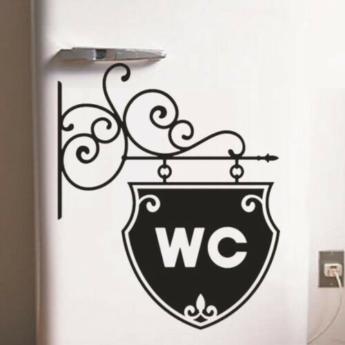 WC Letter Sign Street Lamp Shape Bathroom Toilet Stickers for Home Door Decor D