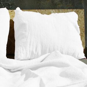 Linen-Pillowcase-100-Pure-Flax-Shams-White-Pillow-Slip-Cushion-Cover-Case