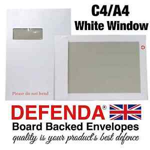 250 x C4 A4 size STRONG WHITE WINDOW BOARD BACKED ENVELOPES with Hard Card Back