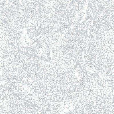 A Quirky Wallpaper of Birds & Foliage Simple White & Metallic Mica - 11.2m