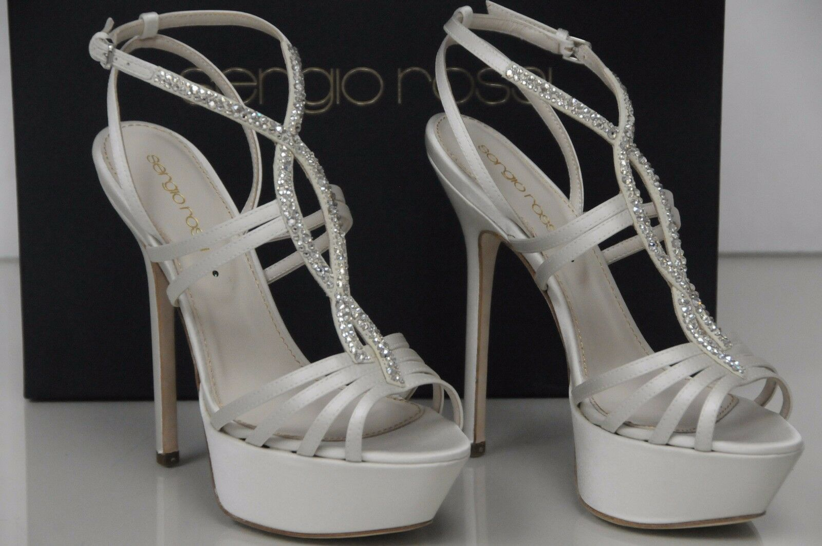 New Sergio Rossi Ivory Satin STRASS Crystals Wedding Bridal Platform shoes