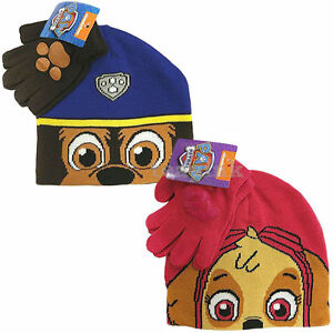 82cb94012db19 Kids Paw Patrol winter hat Chase Skye Beanie Hat   Glove Set Boys ...