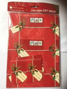 Seasons Greetings Robin Bird /& Holly Red Xmas gift wrap 6 sheets /& 6 tags