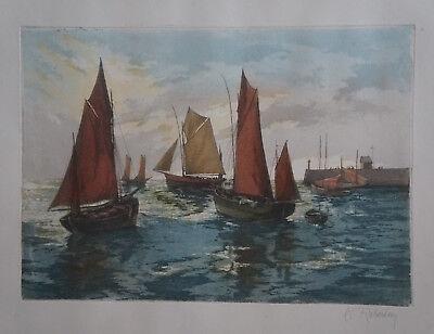 25-25 Gravure le port de la Rochelle par Derveaux