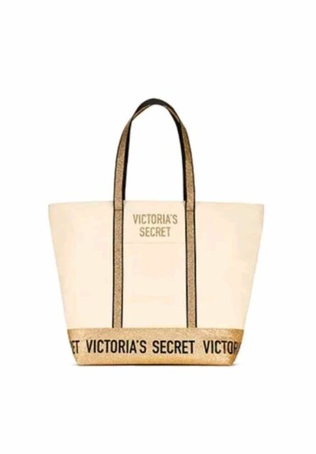 NEW $58 VICTORIA/'S SECRET RED Large Cotton CanvasBeach Overnight Travel Bag