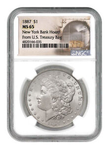 NGC MS65 1887 US Morgan Silver Dollar $1
