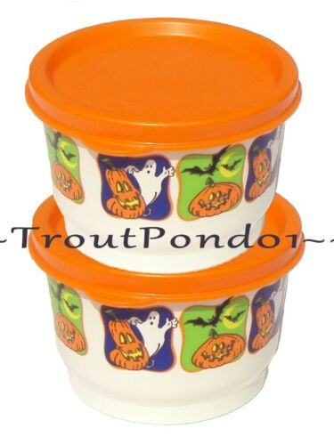 TUPPERWARE Snack Cups Set of 2 Halloween Design 4 oz Lunch Box Bowls New