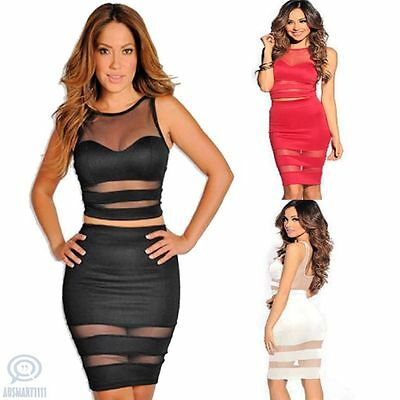 See Through Mesh 2 Piece Midi Slim Bodycon Sleeveless Casual Summer Party Dress