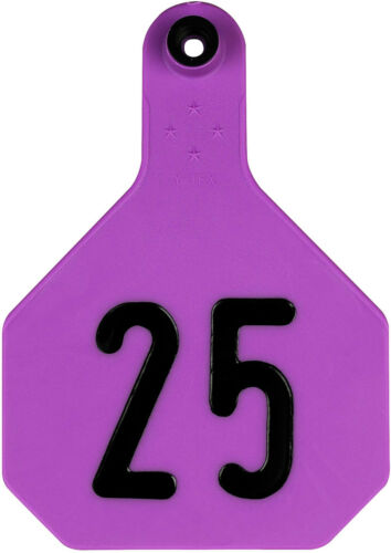 Y-Tex Large 4 Star Cattle Ear Tags Purple Numbered 76-100
