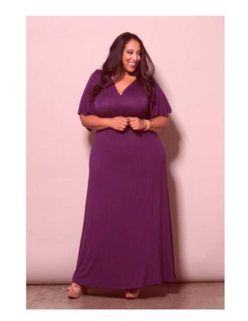 Plus Size Maxi Dress Kimono Sleeve Rayon Blend USA Made Solid 1x-6x ...
