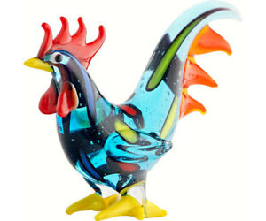COLLECTIBLE-BLOWN-GLASS-CREATURES-AND-ANIMALS-ROOSTER-BLUE-MA-093