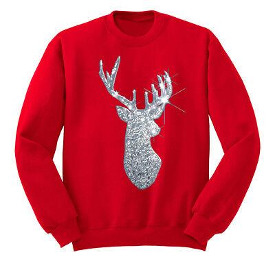 Silver Reindeer Sequins Christmas Sweater Santa Winter Men Women Sweatshirt