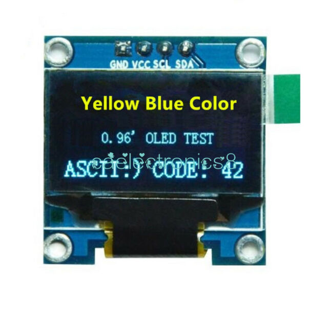 "0.96"" Blue &Yellow I2C IIC 128X64 OLED Serial LCD LED Display Module for Arduino"