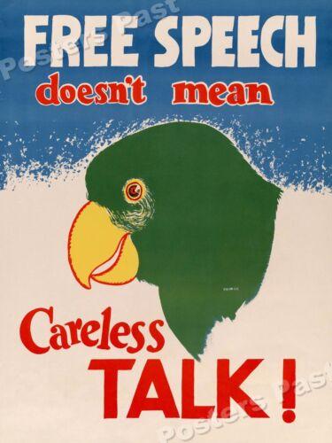 """24x32 1940s """"Free Speech Careless Talk"""" WWII Historic Propaganda War Poster"""