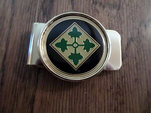 U.S ARMY 4th INFANTRY MONEY CLIP BRASS CONSTRUCTION OFFICIAL ARMY PRODUCT