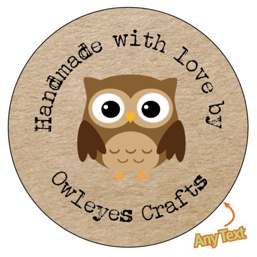 1163 HANDMADE Personalised Owl Shabby Brown Kraft Effect Favour Stickers