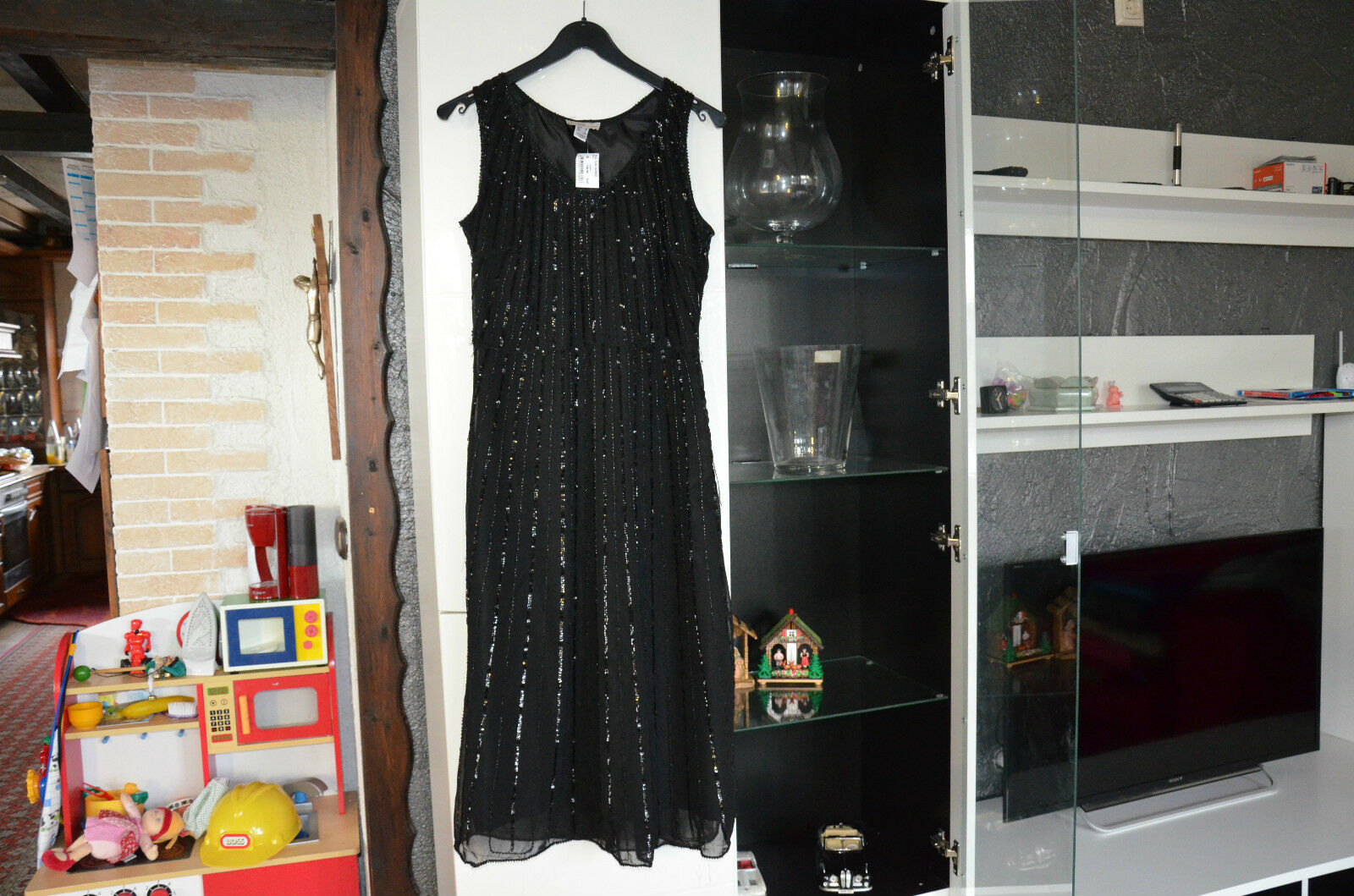 Damen Kleid schwarz Grösse 38 festlich pailetten mona elegant Pailettenkleid neu