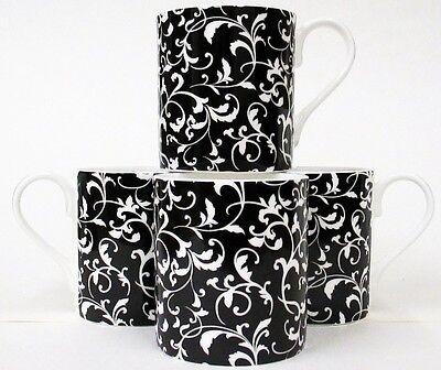 Venetian Mugs Set of 6 Fine Bone China Black Venetian Mugs Hand Decorated UK
