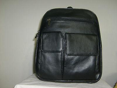 Large Black Genuine Leather Zippered Backpack Style Purse Handbag