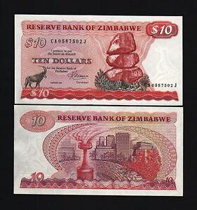 ZIMBABWE-10-DOLLARS-P3-D-1983-ANTELOPE-UNC-RHODESIA-WORLD-PAPER-MONEY-BANK-NOTE
