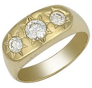 9ct-Yellow-Gold-Three-Stone-Cubic-Zirconia-Men-039-s-Ring-Size-R-UK-Jewellers