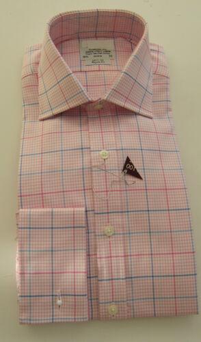 T M Lewin Regular Fit Pink Kariertes Hemd Reine Baumwolle Umschlagmanschette