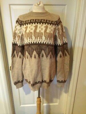 Women's Vintage Peruvian Sweater Alpaca Wool Boho Knit Camel Long Tunic Sz XL