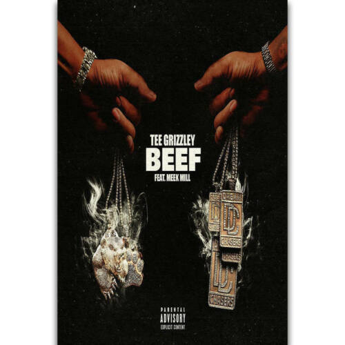 H589 New Beef Tee Grizzley Meek Mill Rap Music Album Cover Poster Wall Silk Art