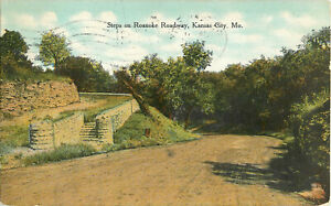 Postcard-Steps-On-Roanoke-Roadway-Kansas-City-MO-Posted