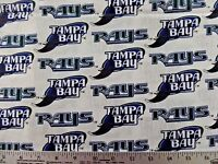 Mlb Tampa Bay Rays Print 100% Cotton Fabric By The 1/2 Yard Vintage