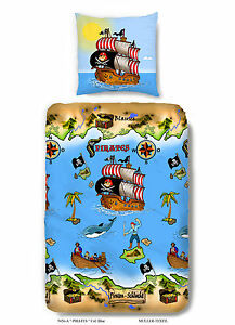bettw sche 135x200 cm baumwolle kinder pirat jungen blau schatzinsel schiff ebay. Black Bedroom Furniture Sets. Home Design Ideas