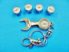 4 Lincoln Chrome Tire Road Wheel Valve Stem Caps Covers Wrench Keychain TR413