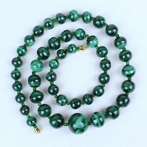 gruen-Malachit-Halskette-natuerlich-Stein-abgestuft-Lasso-Malakite-Perlen