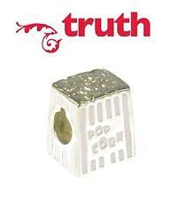 Genuine TRUTH PK 925 sterling silver enamel POPCORN charm bead, movies, cinema