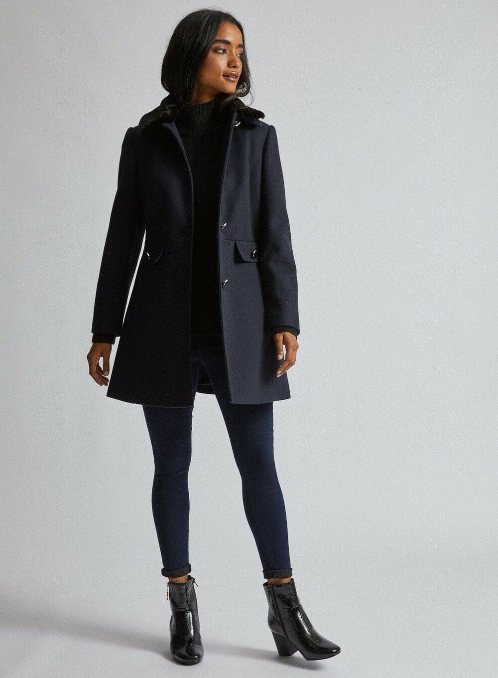 💜BRAND NEW WITH TAGS DOROTHY PERKINS SIZE 6 NAVY COAT warm💜