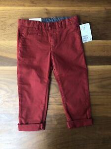 H M Nino Nino Pantalones Angostos Rojo 2 3 Anos Chinos Ebay