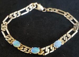 Vintage-Fiery-Blue-Red-amp-Green-OPAL-Sterling-Silver-Vermeil-Link-Bracelet-7-1-2-034