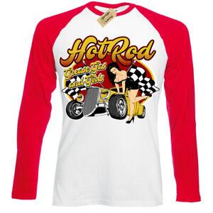 Grease-gas-and-girls-T-Shirt-rockabilly-hot-rod-pin-up-usa-Baseball