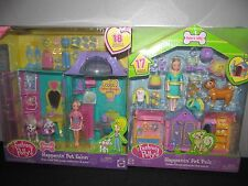 New Fashion Polly Pocket Doll Happenin' Pet Salon Pals Dog House Spa Playset Lot