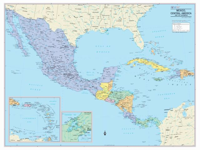 Cool Owl Maps Mexico, Central America & Caribbean Wall Map - Paper 40\
