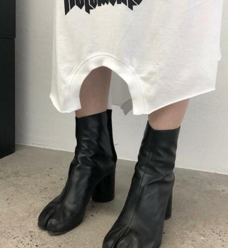 Casual Ladies Split Toe Leather Mid-Calf Boots Block High Heel Womens Zip Shoes