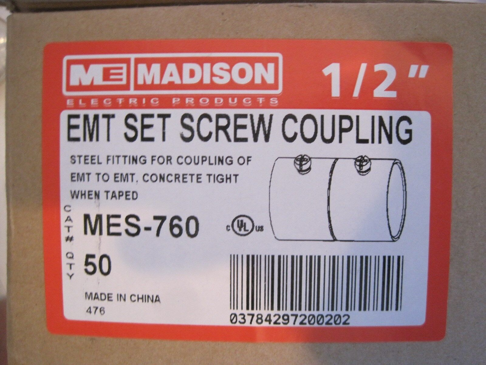 50 NEW MADISON ELECTRIC MES-760 1 2  SET SCREW COUPLING MES760
