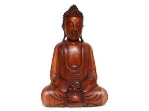 Skulptur-Holzbuddha-Buddha-Meditation-Zen-Holz-gross-30cm-Neu