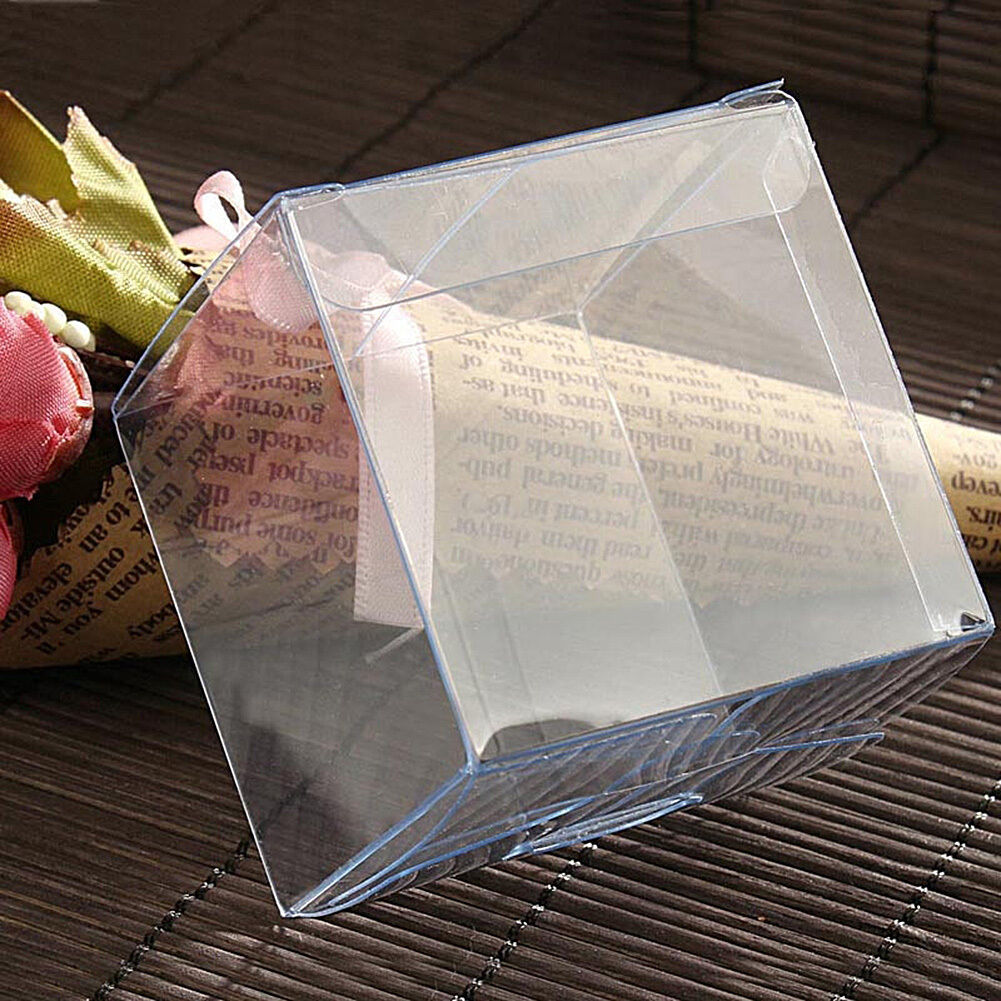 Wedding Favor Boxes For Sale : Sale Wedding Favor Candy Box PVC Clear Cube Design Baby Shower Gift ...