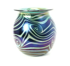 Early Charles Lotton King Tut Vase Silver Luster Signed Dated 1972