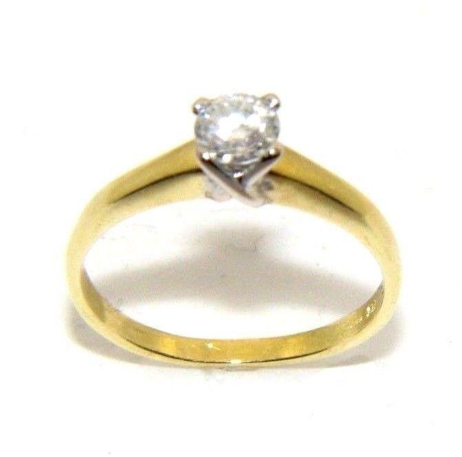 Ladies womens 18ct 18carat yellow gold diamond solitaire ring uk size M